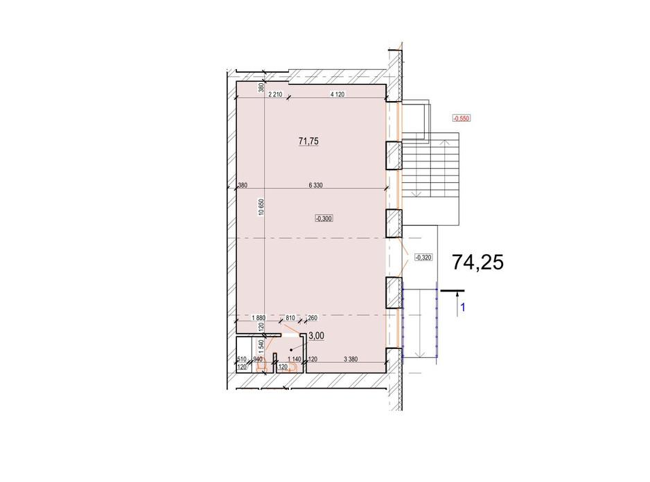 Планування приміщення в ЖК Перлина Поділля 74.75 м², фото 165412