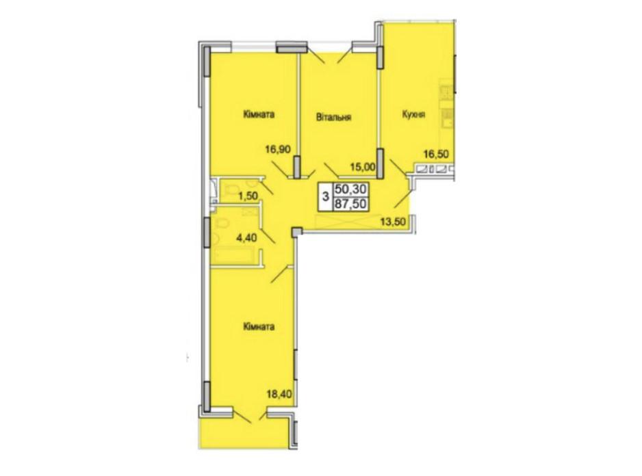 Планировка 3-комнатной квартиры в ЖК Парковый Бульвар 87.5 м², фото 165650