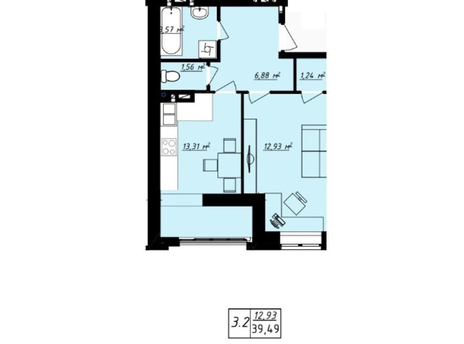 Планування 1-кімнатної квартири в ЖК Одеська Чайка 39.49 м², фото 165726