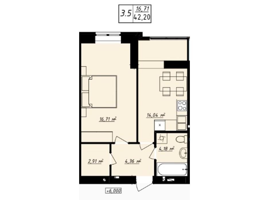 Планування 1-кімнатної квартири в ЖК Одеська Чайка 42.2 м², фото 165727