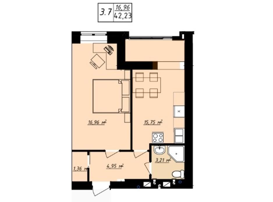 Планування 1-кімнатної квартири в ЖК Одеська Чайка 42.23 м², фото 165728