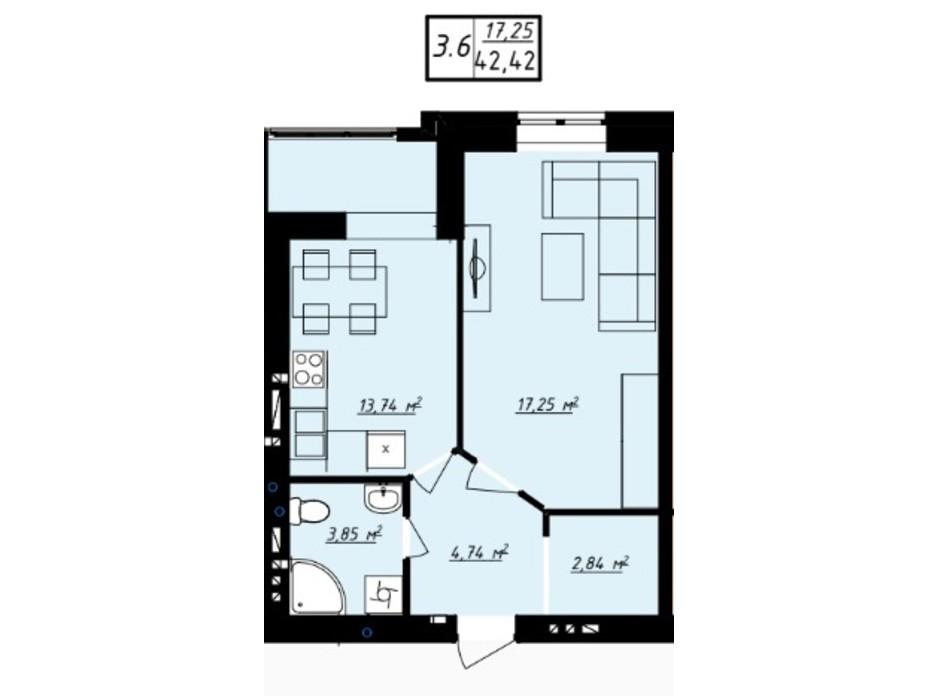 Планування 1-кімнатної квартири в ЖК Одеська Чайка 42.42 м², фото 165729