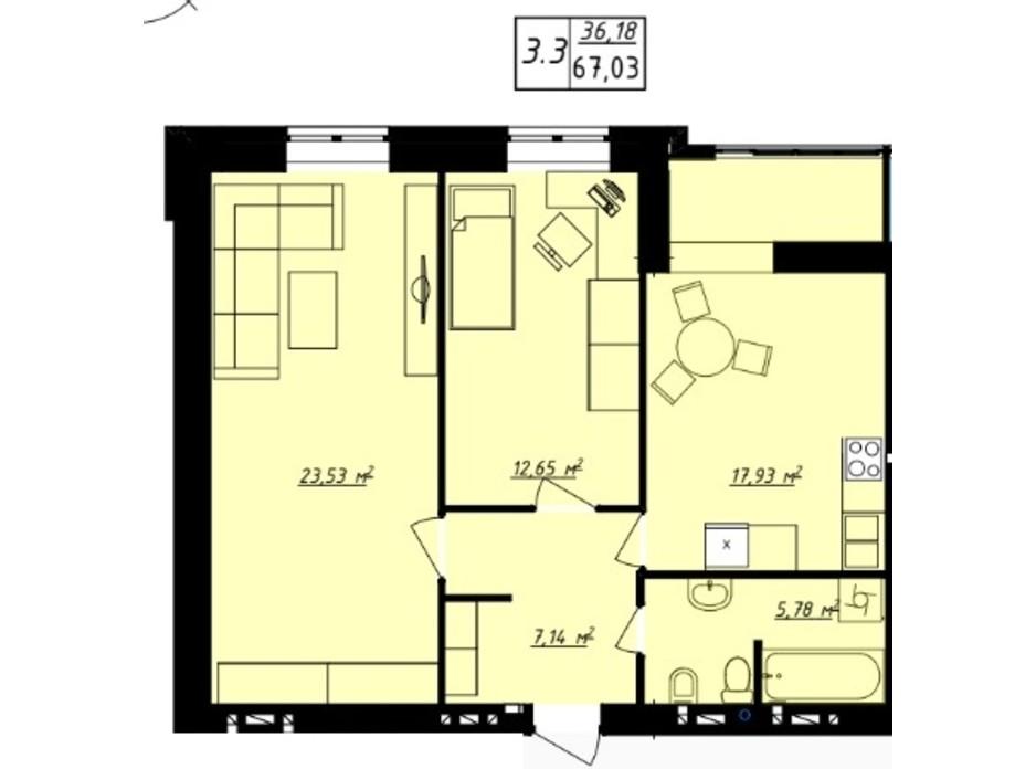 Планування 2-кімнатної квартири в ЖК Одеська Чайка 67.03 м², фото 165747