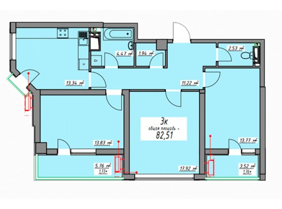 Планировка 3-комнатной квартиры в ЖК Элегия Парк 82.72 м², фото 166574
