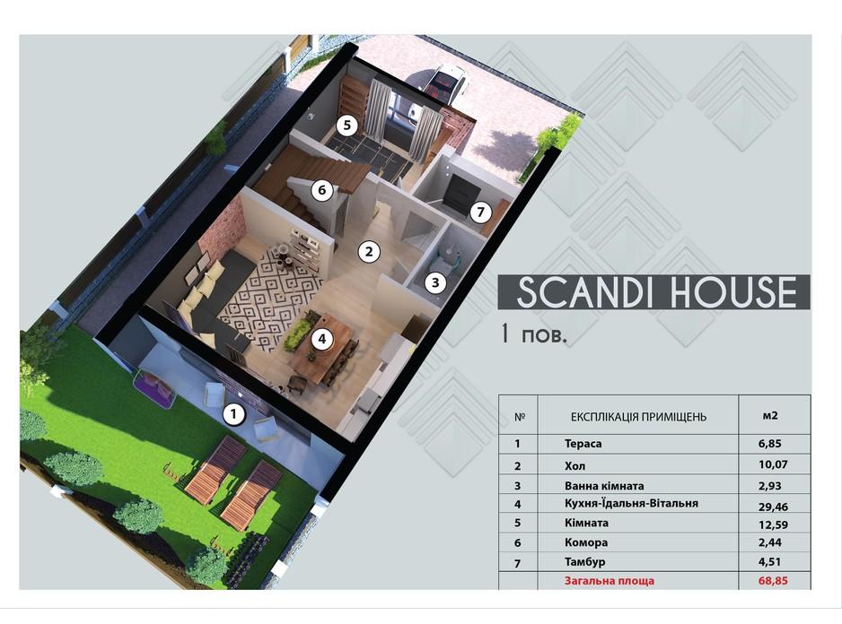 Планування 5-кімнатної квартири в Таунхаус Scandi House 130 м², фото 167046