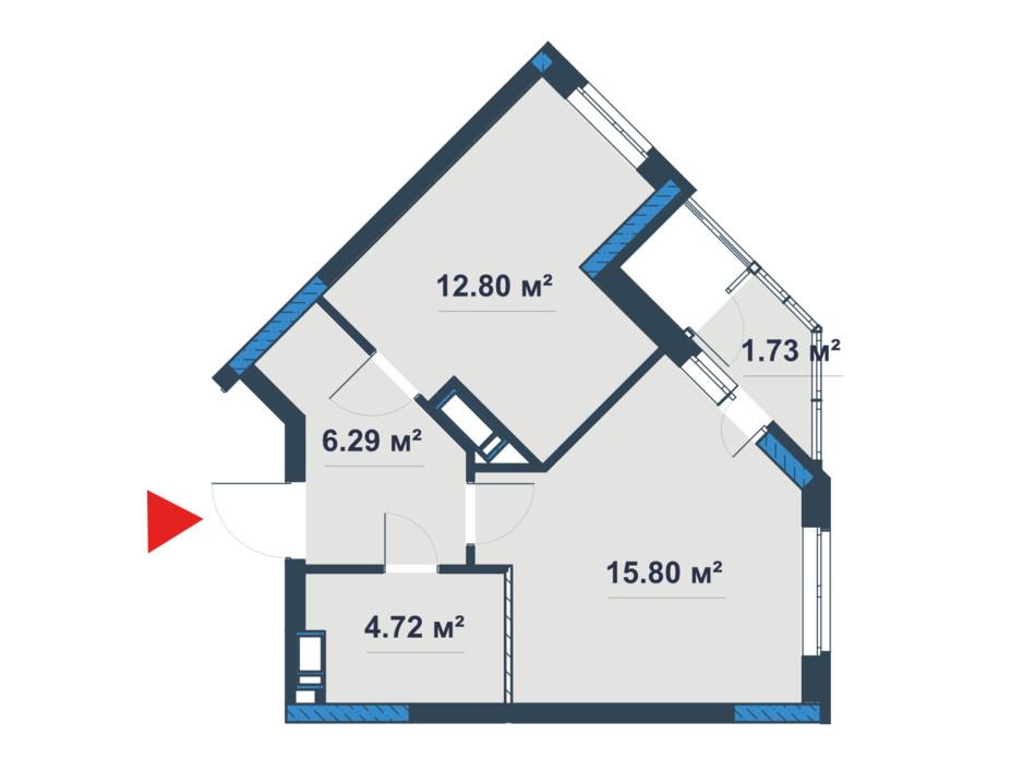 Планировка 1-комнатной квартиры в ЖК «Причал 8» 42.11 м², фото 168370