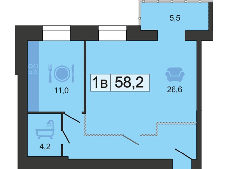 Планировка 1-комнатной квартиры в ЖК River Park (Ривер Парк) 59 м², фото 168577