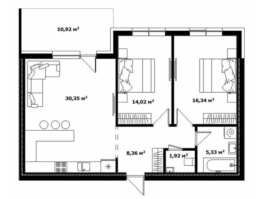 Планировка 2-комнатной квартиры в ЖК River Land 82 м², фото 168582