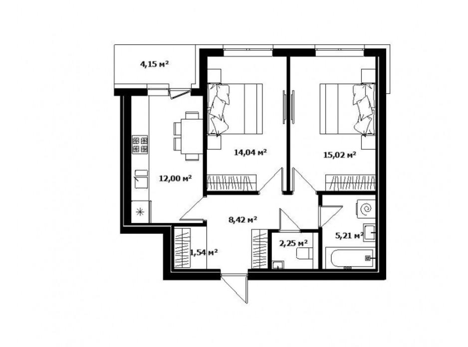 Планировка 1-комнатной квартиры в ЖК River Land 60 м², фото 168585