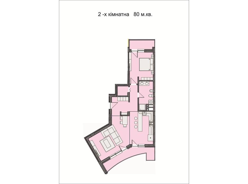 Планировка 2-комнатной квартиры в ЖК Residents Park 80 м², фото 169028