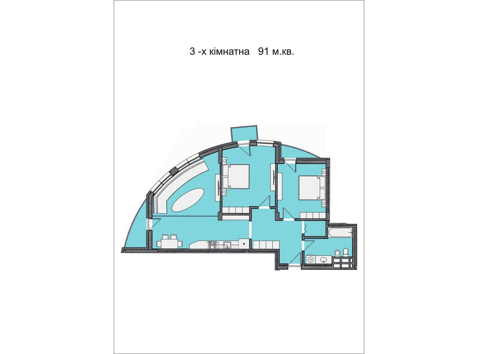 Планировка 3-комнатной квартиры в ЖК Residents Park 91 м², фото 169029
