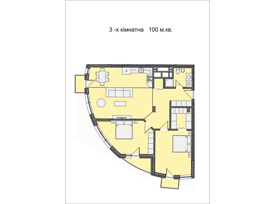 Планировка 3-комнатной квартиры в ЖК Residents Park 100 м², фото 169030
