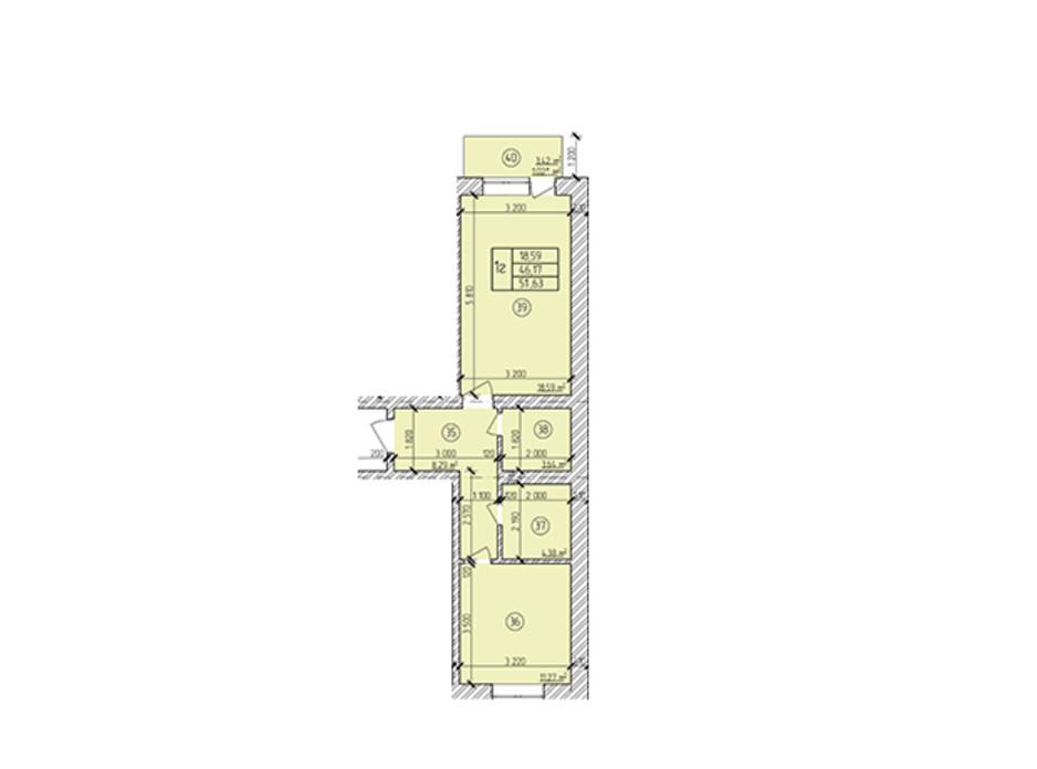 Планування 1-кімнатної квартири в ЖК по вул. Мічуріна 54.02 м², фото 170441