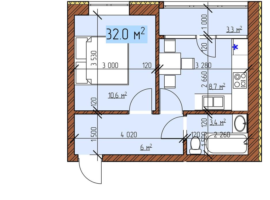 Планування 1-кімнатної квартири в ЖК Джерельний 32 м², фото 170827