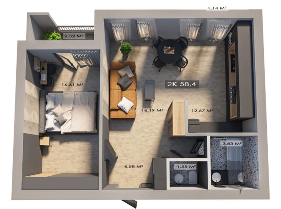 Планировка 2-комнатной квартиры в ЖК Клубный городок 12 58.4 м², фото 172152