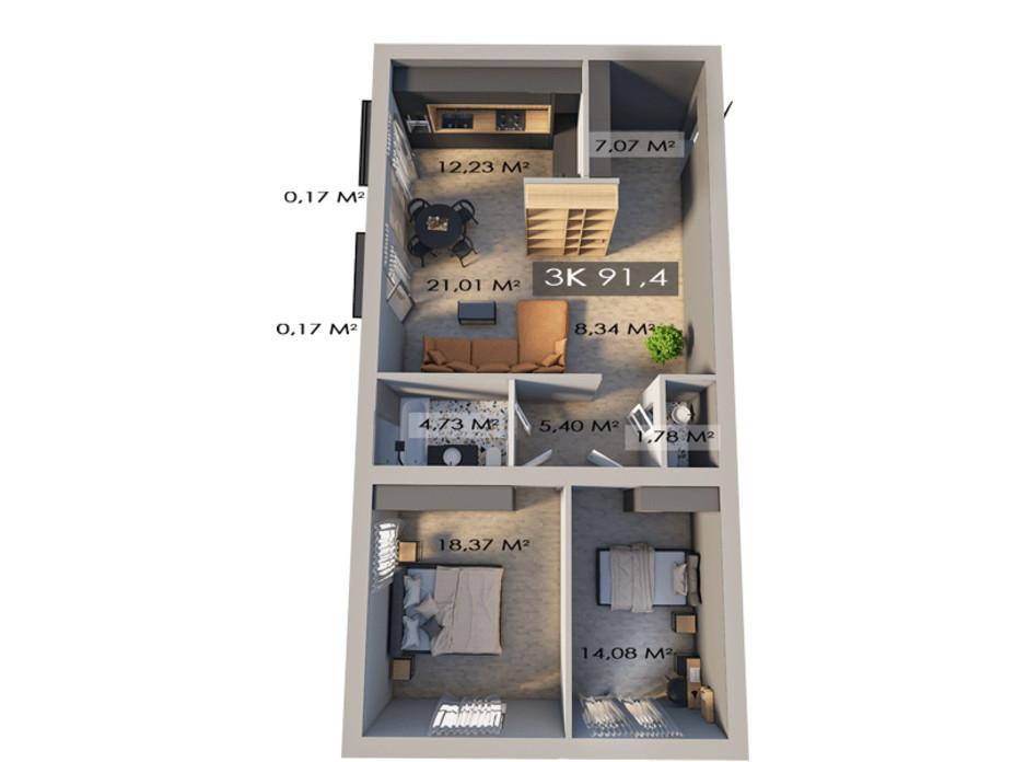 Планировка 3-комнатной квартиры в ЖК Клубный городок 12 91.4 м², фото 172153