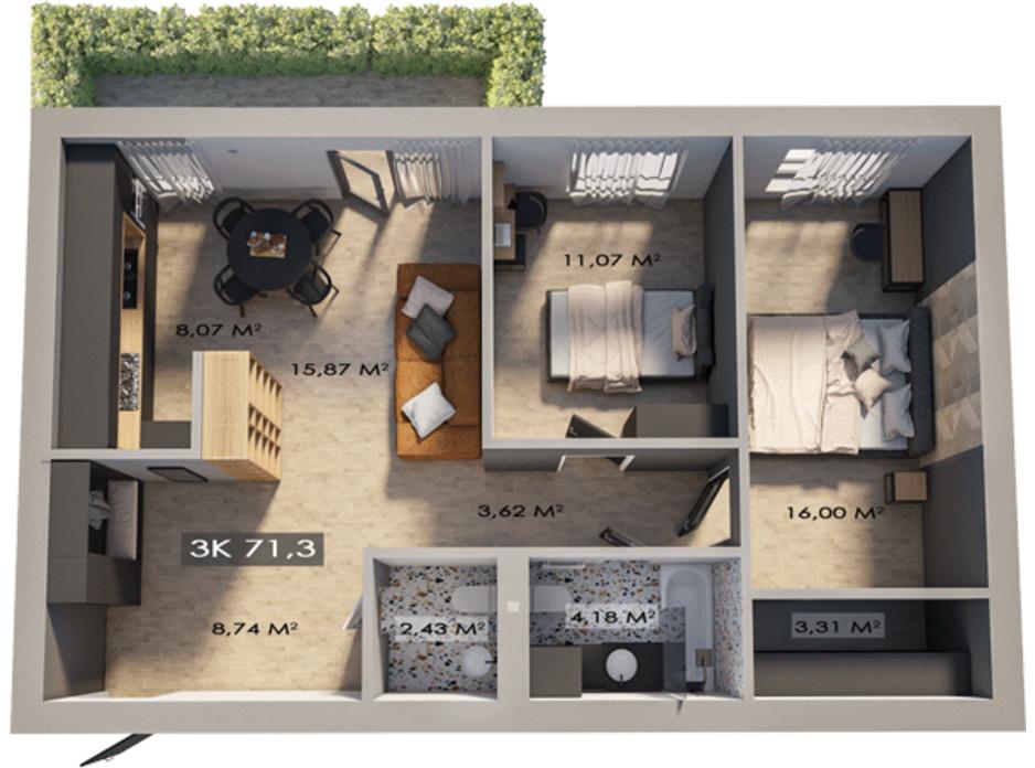 Планировка 3-комнатной квартиры в ЖК Клубный городок 12 71.3 м², фото 172155