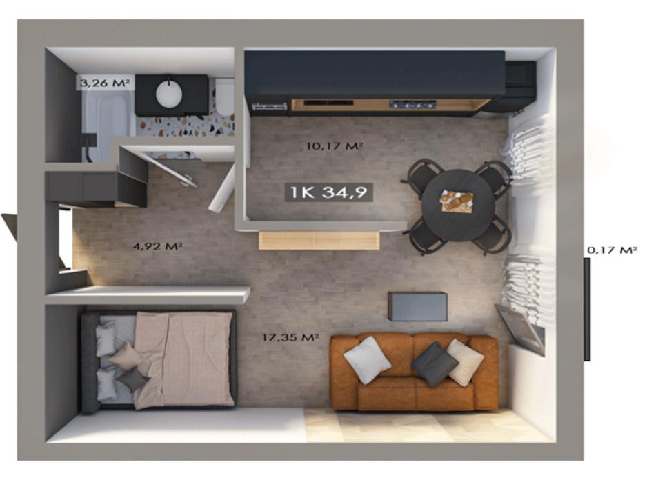 Планировка 1-комнатной квартиры в ЖК Клубный городок 12 34.9 м², фото 172156