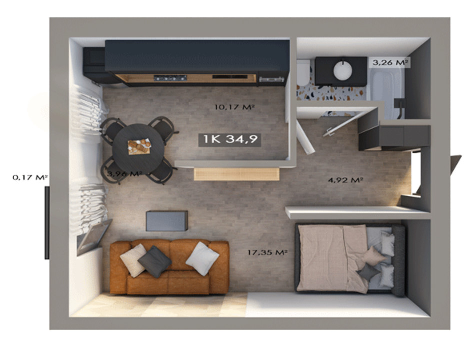 Планировка 1-комнатной квартиры в ЖК Клубный городок 12 34.9 м², фото 172164