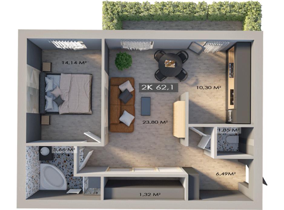 Планировка 2-комнатной квартиры в ЖК Клубный городок 12 62.1 м², фото 172205