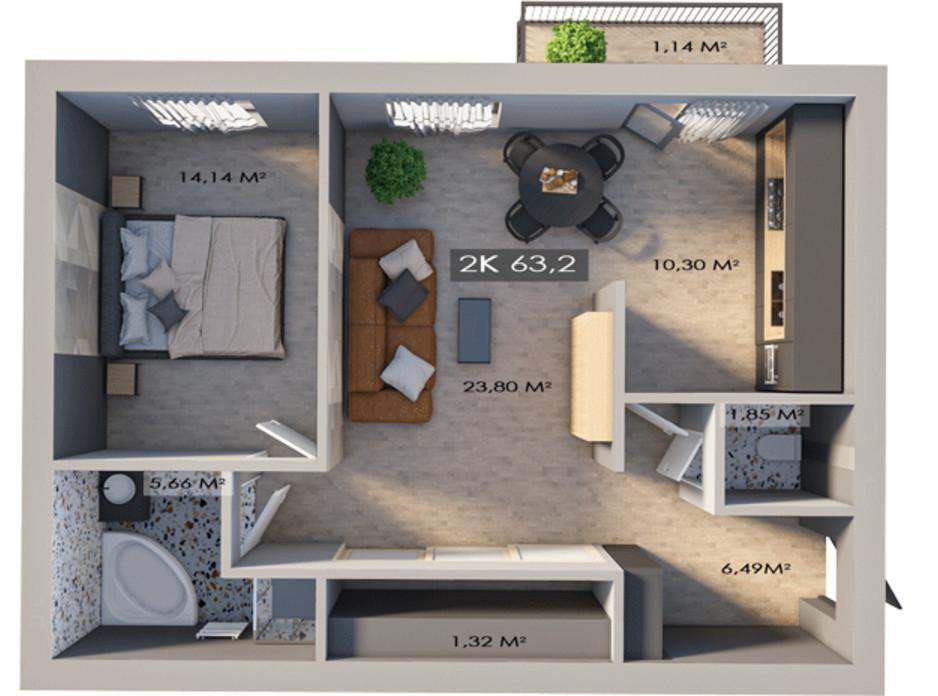 Планировка 2-комнатной квартиры в ЖК Клубный городок 12 63.2 м², фото 172207