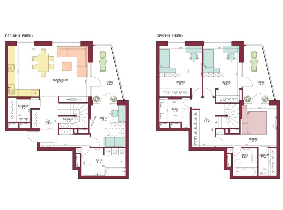 Планування багаторівневої квартири в ЖК Legenda 160.6 м², фото 173497