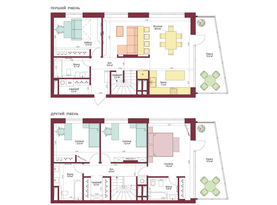 Планування багаторівневої квартири в ЖК Legenda 169.3 м², фото 173498