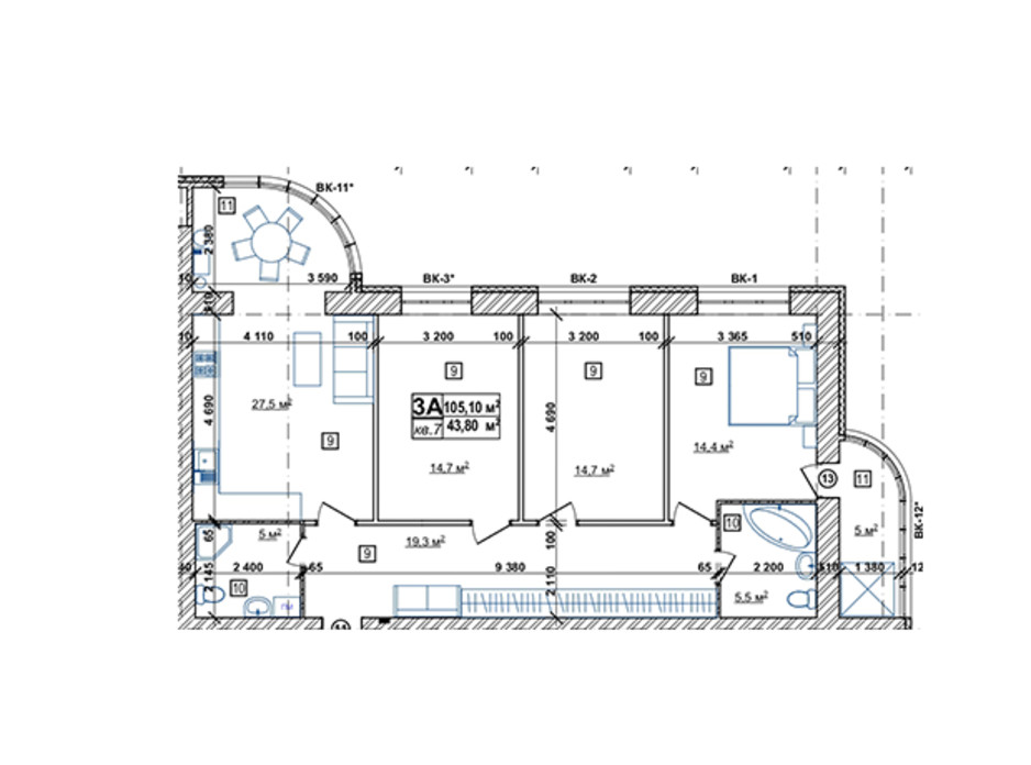 Планування 2-кімнатної квартири в ЖК Парковий 106.6 м², фото 173815