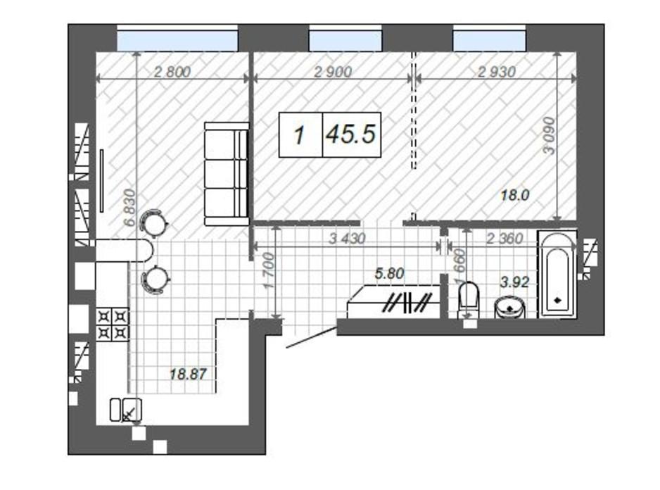 Планування 1-кімнатної квартири в ЖК Нові Метри Center 45.5 м², фото 174372