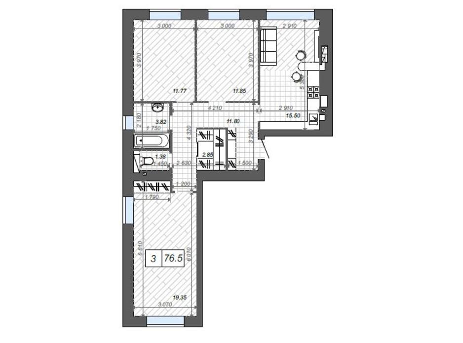Планування 3-кімнатної квартири в ЖК Нові Метри Center 76.5 м², фото 174378