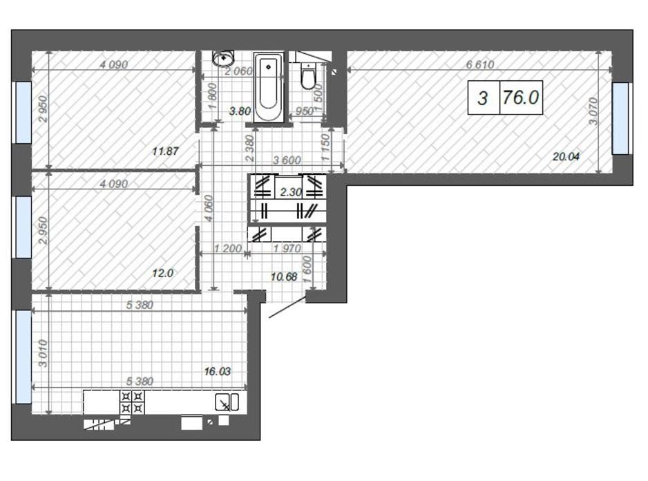 Планування 3-кімнатної квартири в ЖК Нові Метри Center 76 м², фото 174379