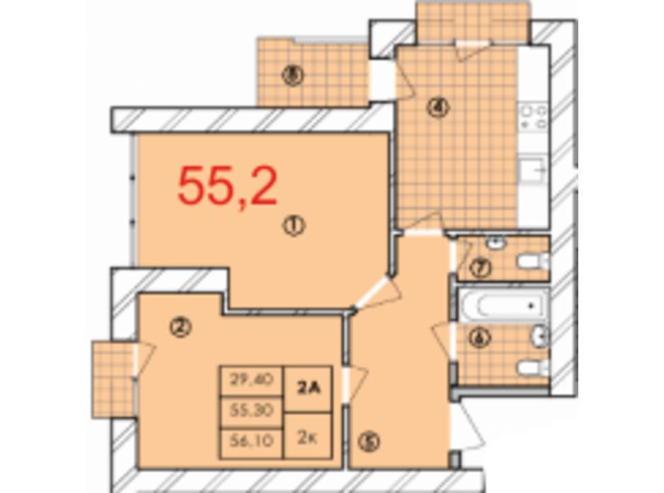 Планировка 2-комнатной квартиры в ЖК Крайобраз 55.2 м², фото 175709