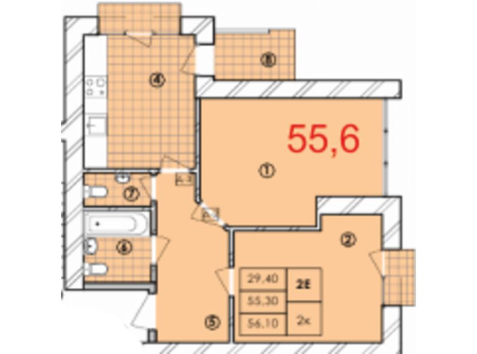 Планування 2-кімнатної квартири в ЖК Крайобраз 55.6 м², фото 175710