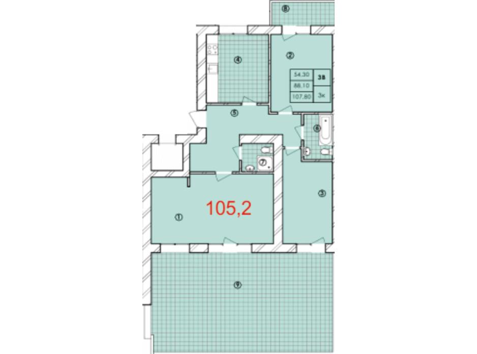 Планування 3-кімнатної квартири в ЖК Крайобраз 105.2 м², фото 175713