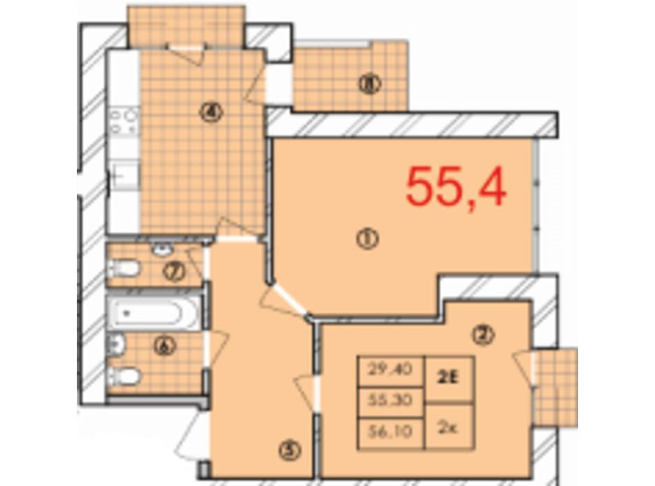 Планировка 2-комнатной квартиры в ЖК Крайобраз 55.4 м², фото 175716