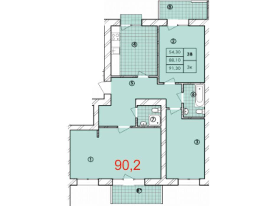 Планировка 3-комнатной квартиры в ЖК Крайобраз 90.2 м², фото 175719