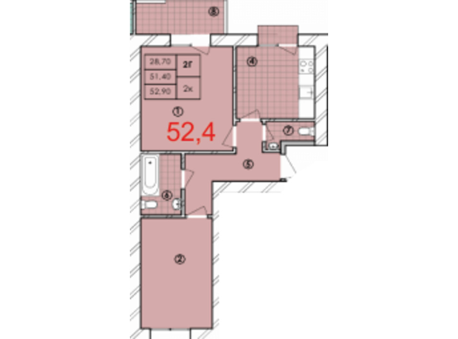Планування 2-кімнатної квартири в ЖК Крайобраз 52.4 м², фото 175721