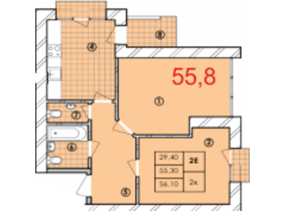 Планировка 2-комнатной квартиры в ЖК Крайобраз 55.8 м², фото 175723