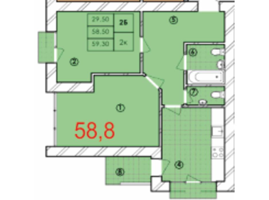Планировка 2-комнатной квартиры в ЖК Крайобраз 58.8 м², фото 175724