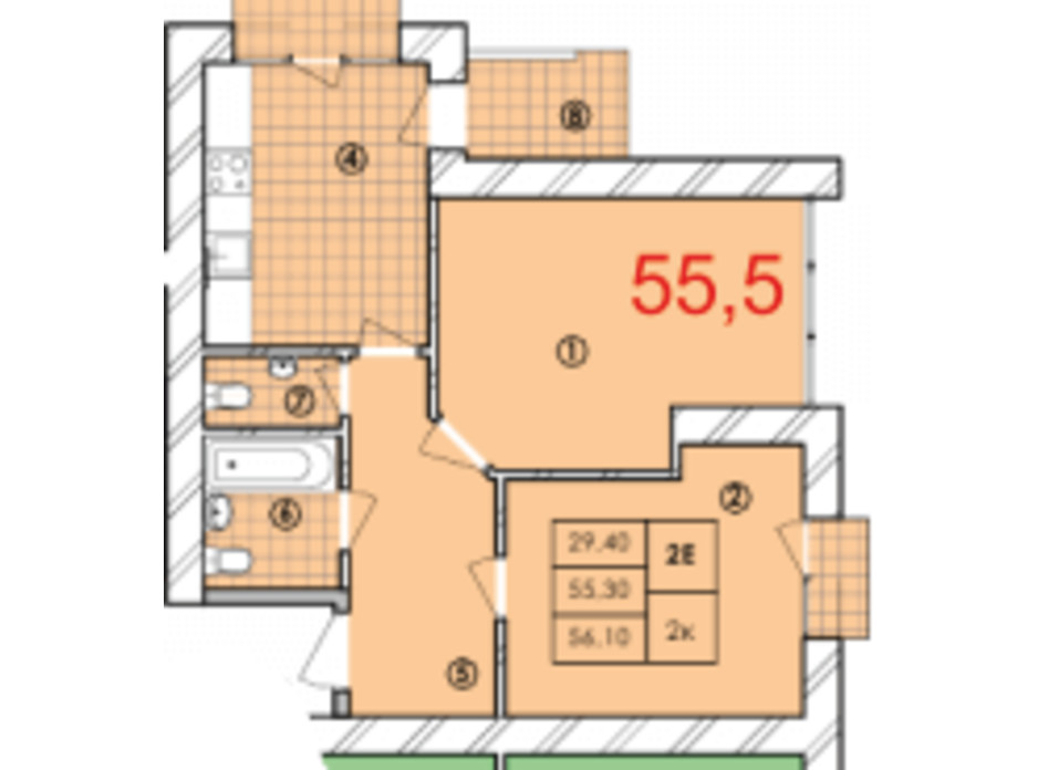 Планировка 2-комнатной квартиры в ЖК Крайобраз 55.5 м², фото 175729