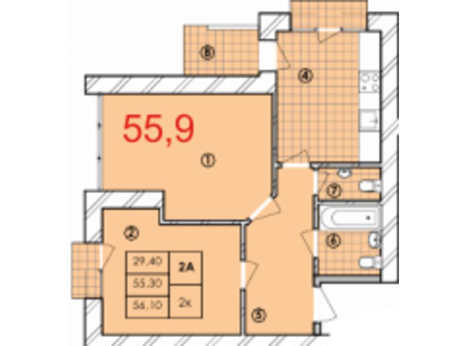 Планування 2-кімнатної квартири в ЖК Крайобраз 55.9 м², фото 175730