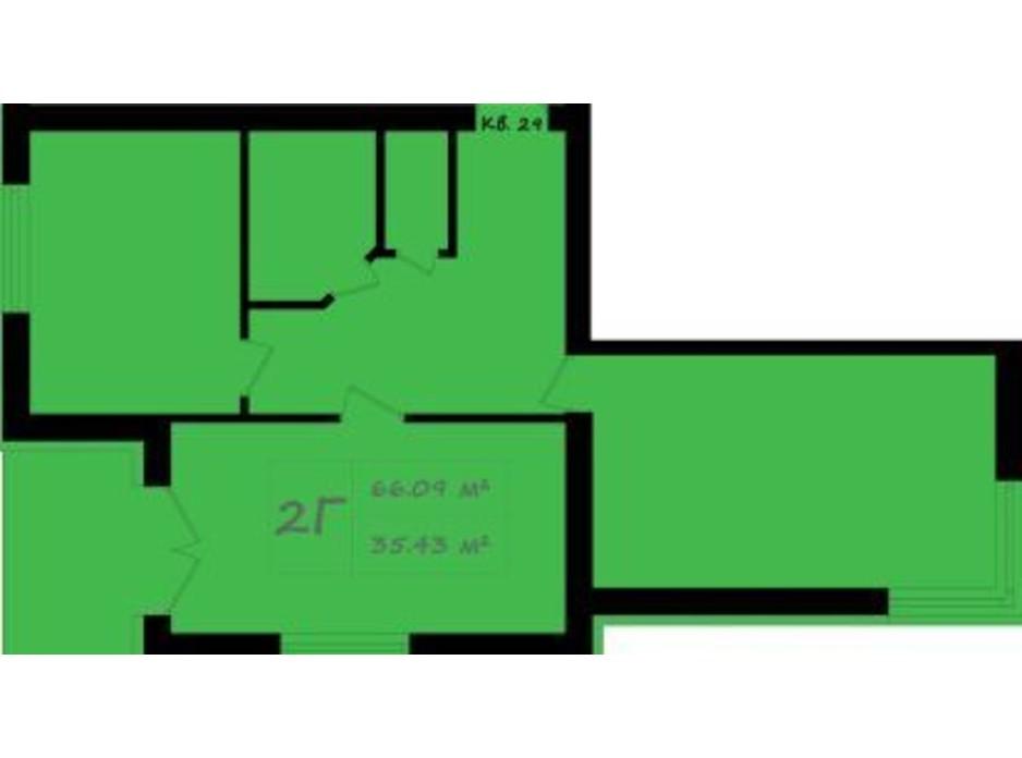 Планування 2-кімнатної квартири в ЖК Італійський 66.09 м², фото 176130