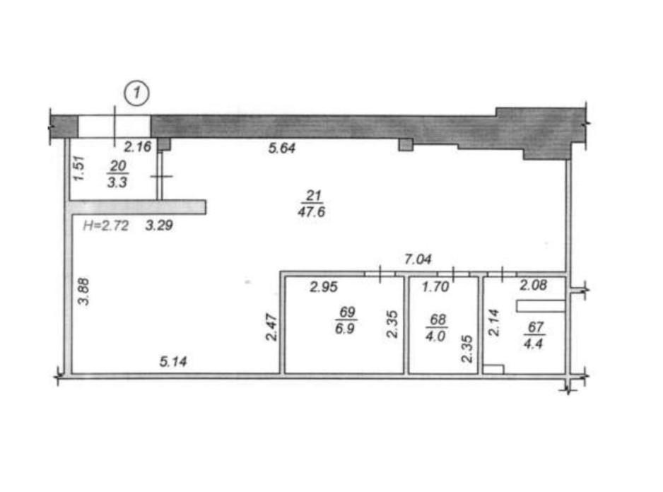Планировка помещения в ЖК Чайка 66.2 м², фото 176174