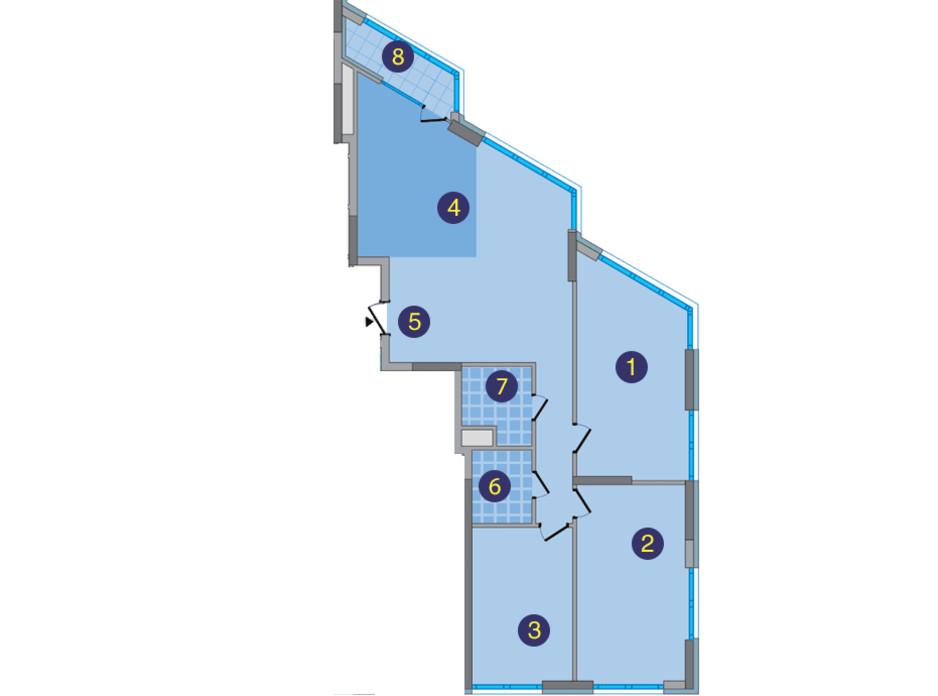 Планировка 3-комнатной квартиры в ЖК Заречный 118.71 м², фото 176665