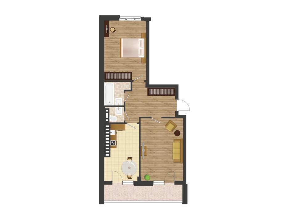Планировка 2-комнатной квартиры в ЖК Золотая Эра 74.15 м², фото 177532