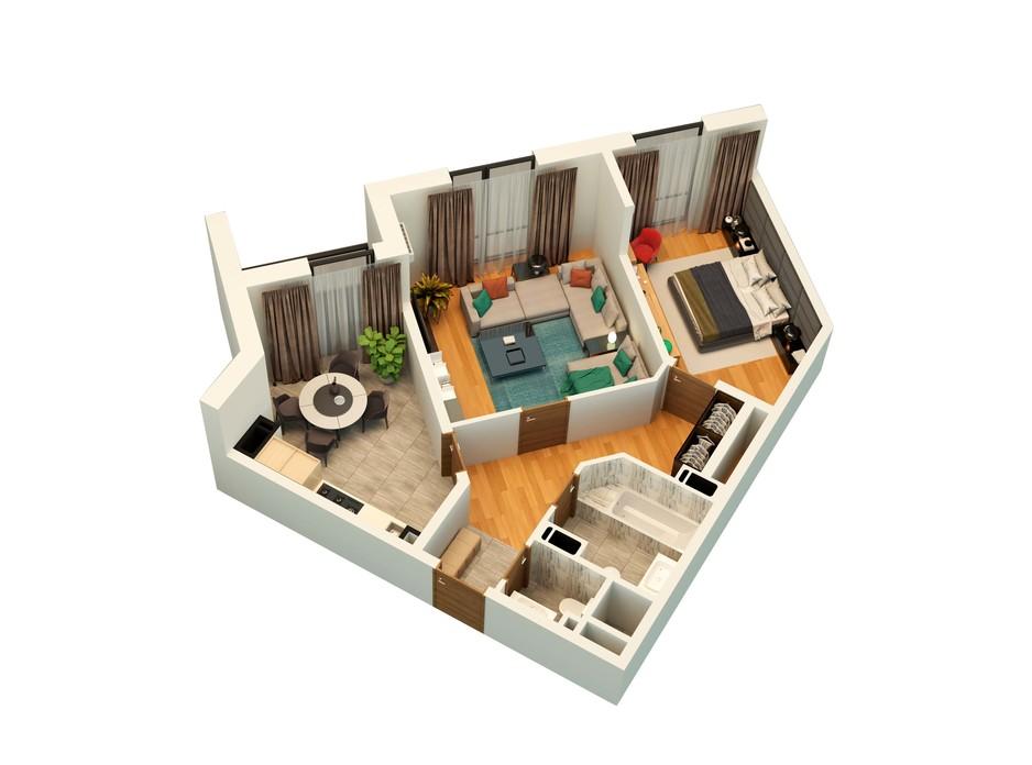 Планування 2-кімнатної квартири в ЖК Щасливий Platinum 67 м², фото 177968