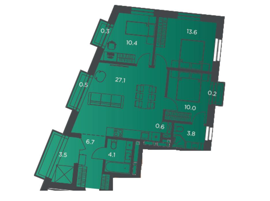 Планування 3-кімнатної квартири в Апарт-комплекс Pokrovsky Apart Complex 82 м², фото 178256