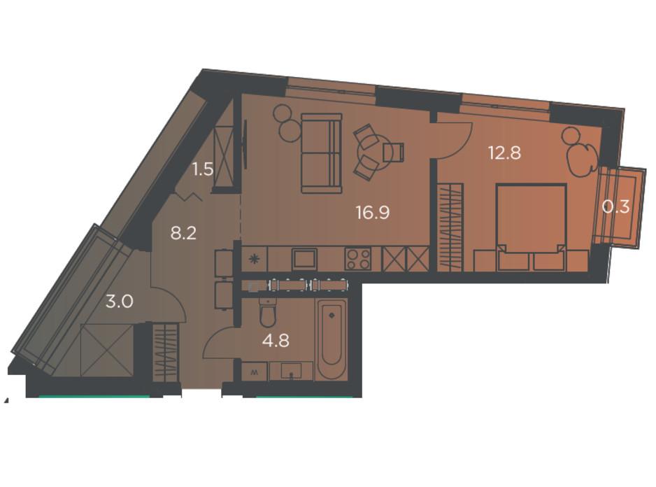 Планировка 1-комнатной квартиры в Апарт-комплекс Pokrovsky Apart Complex 48 м², фото 178259