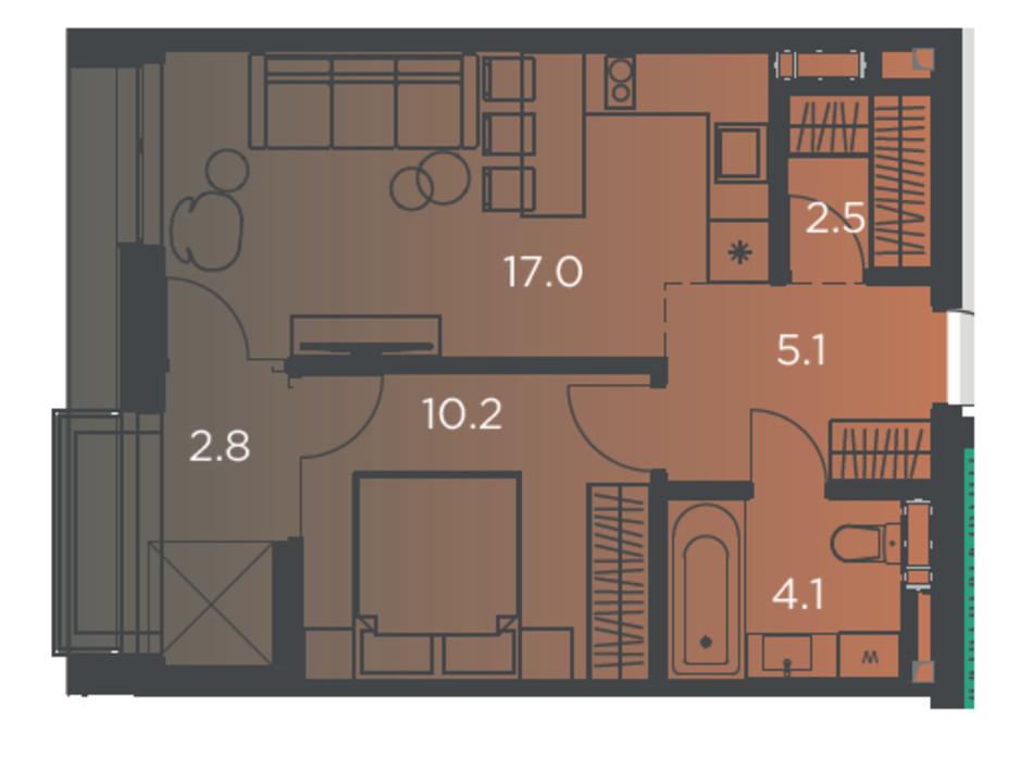Планування 1-кімнатної квартири в Апарт-комплекс Pokrovsky Apart Complex 40 м², фото 178263