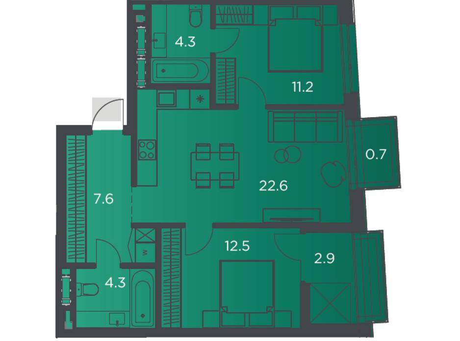 Планування 2-кімнатної квартири в Апарт-комплекс Pokrovsky Apart Complex 65 м², фото 178266
